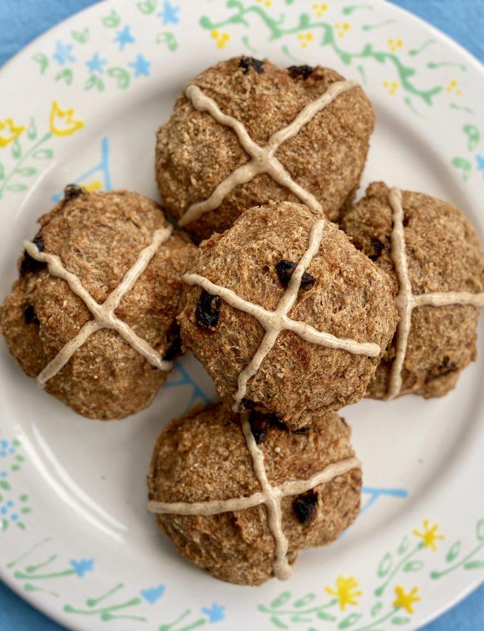 Gluten free vegan hot cross buns  {also yeast free!}