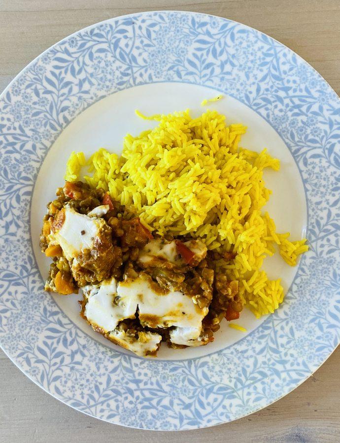 Vegan Bobotie with yellow rice
